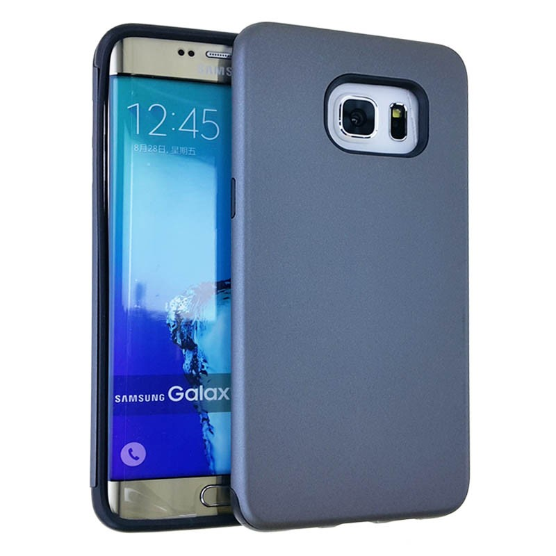 """MYVI Series Slim Hybrid Protector Case for Samsung Galaxy S6 Edge Plus (Black Skin & Rubberized Metalic Gray Snap )"""