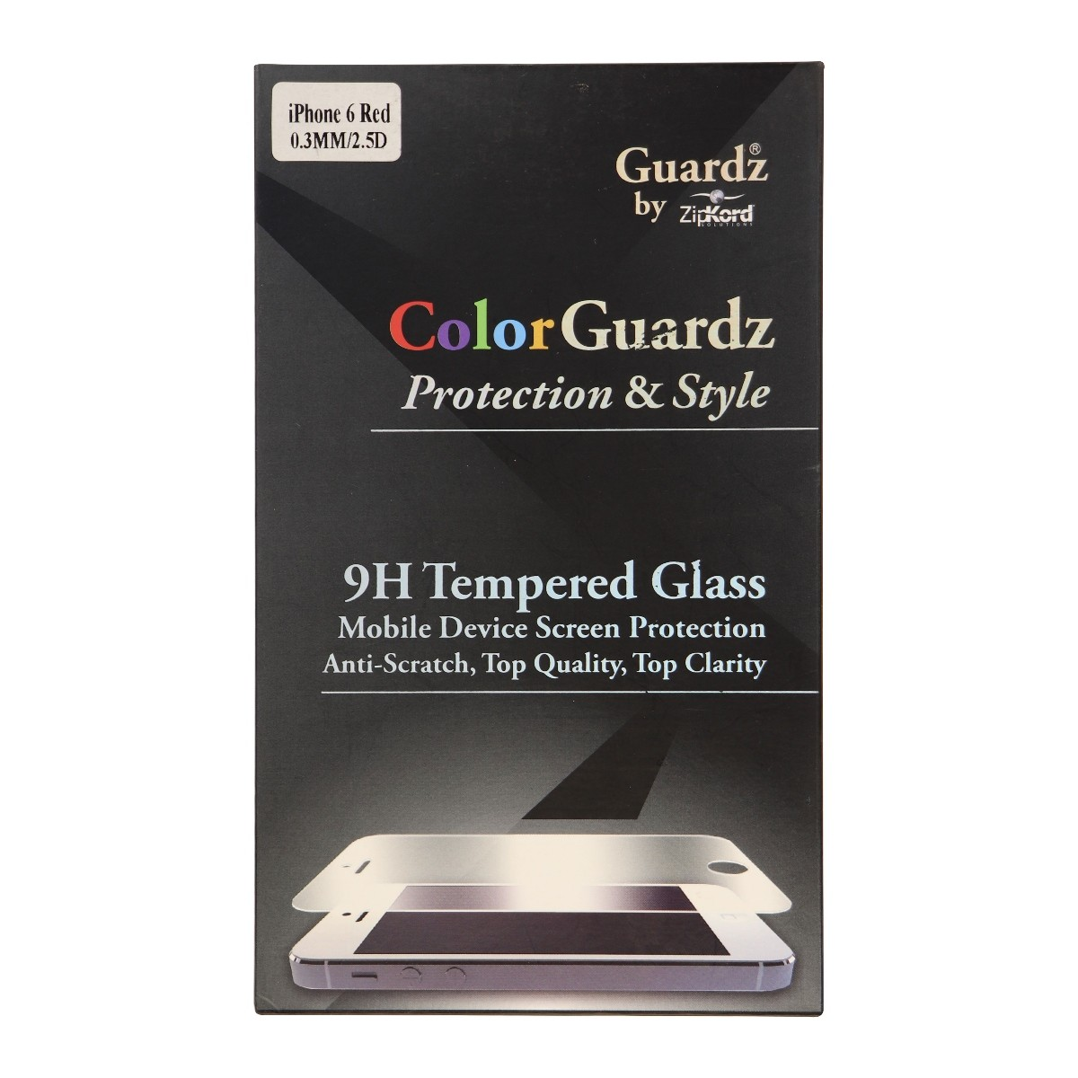 ZipKord ColorGuardz 9H Tempered Glass for iPhone 6s 6 - Metallic Red Border