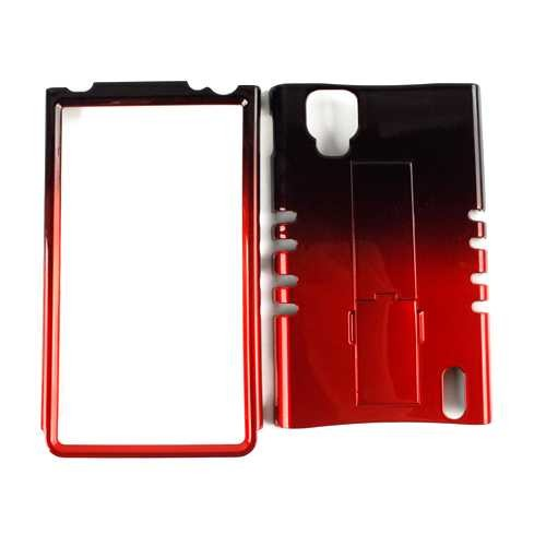 Unlimited Cellular Rocker Snap-On Case for LG LS970 Optimus G (Two Tones Black and Red)