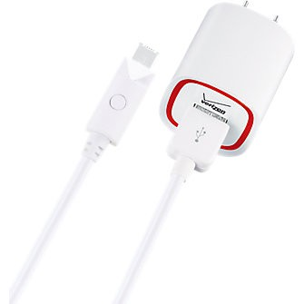 Verizon Wall Charger with 6 ft. Cable and LED Light for Micro USB - White