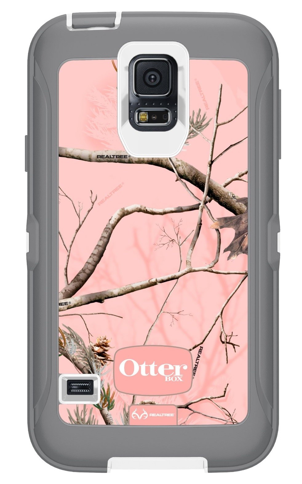 OtterBox Defender Case for Samsung Galaxy S5 - Real Tree Pink (White/Gunmetal Grey Ap Pink)