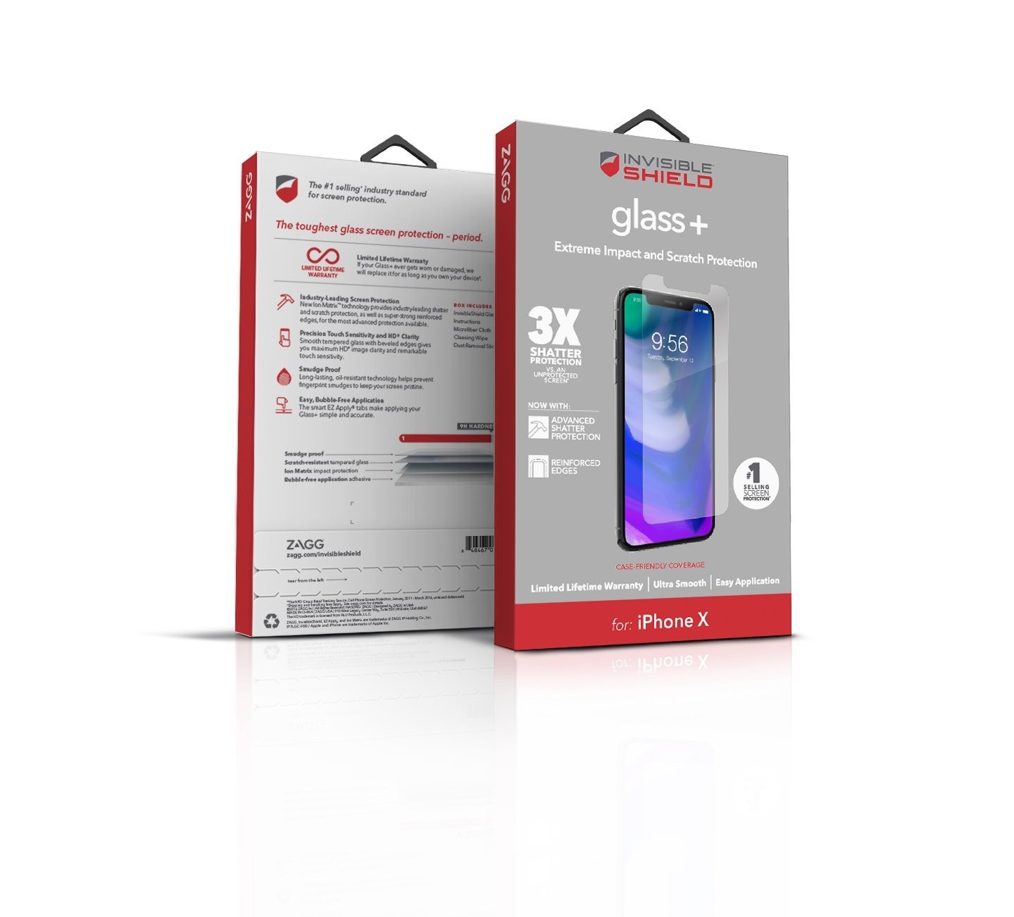 promo code 90cf2 31d4d ZAGG InvisibleShield Tempered Glass+ Screen Protector for iPhone X, XS