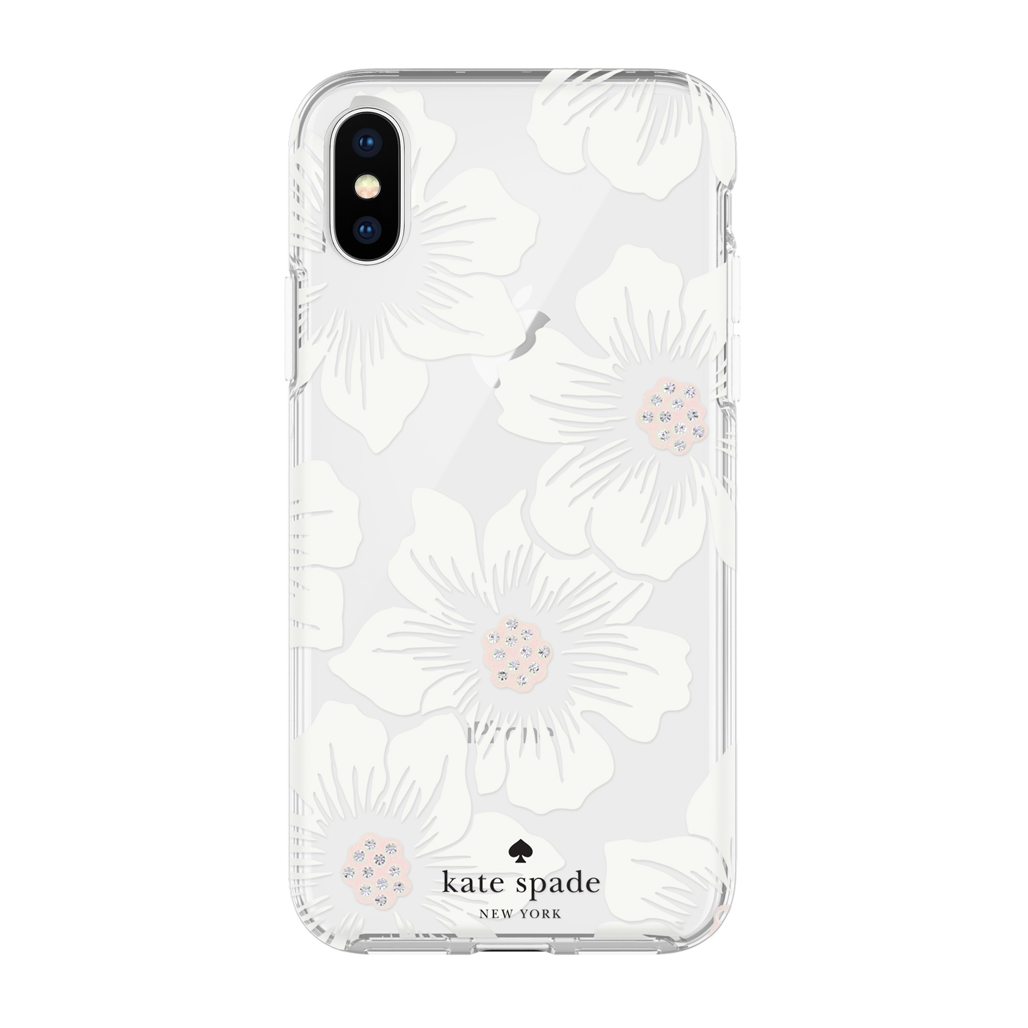 cce5791c7 Kate Spade Flexible Hardshell Case for iPhone X/XS - Hollyhock Floral Clear/ Cream with Stones