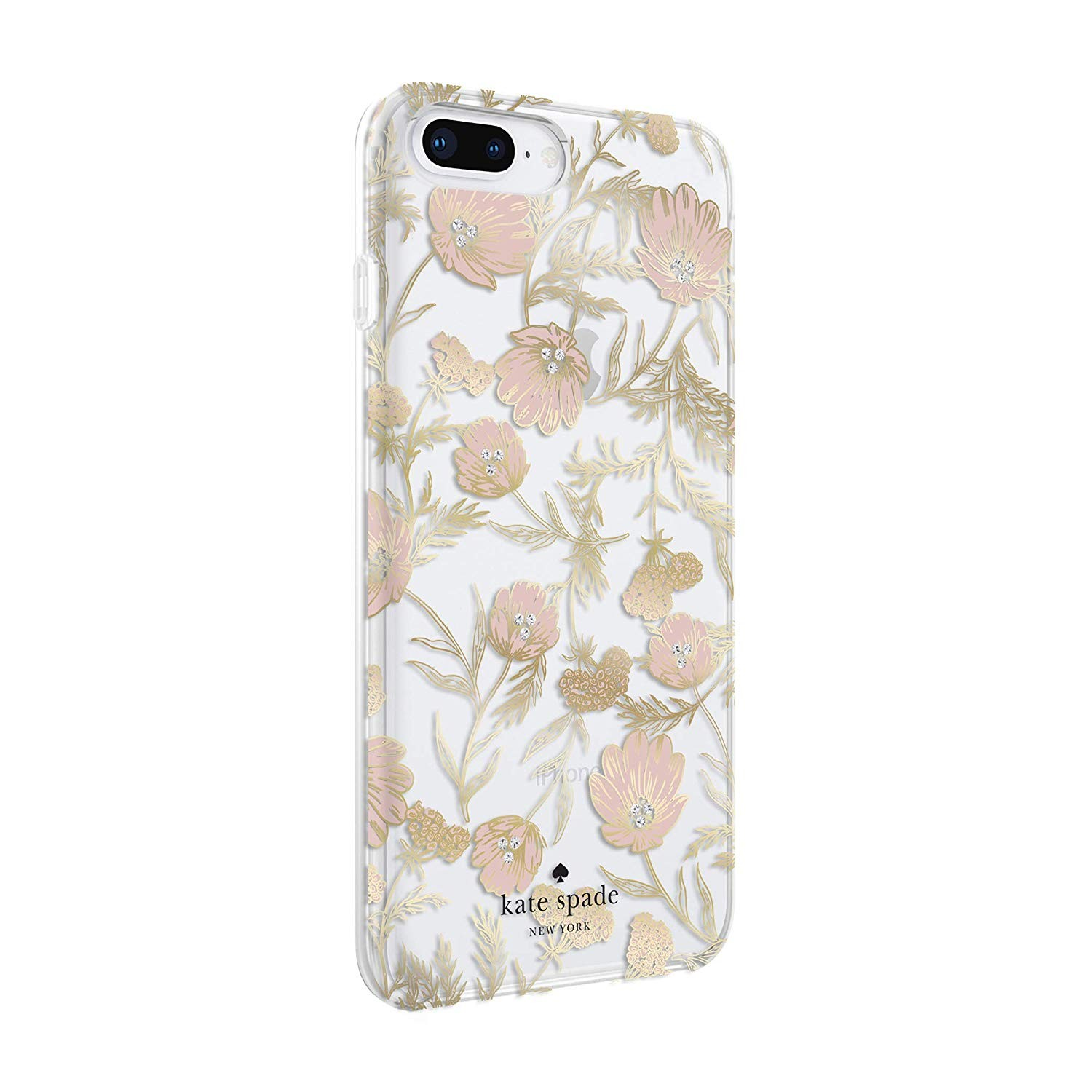 sale retailer 03896 540ae kate spade Flexible Hardshell Case for iPhone 8 Plus/7 Plus - Blossom  Pink/Gold with Gems
