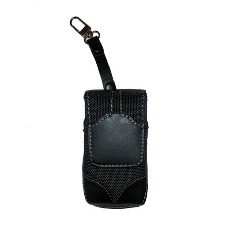 WAU Titan Vertical Leather & Nylon Pouch with Swivel Belt Clip for Motorola V3m - Black