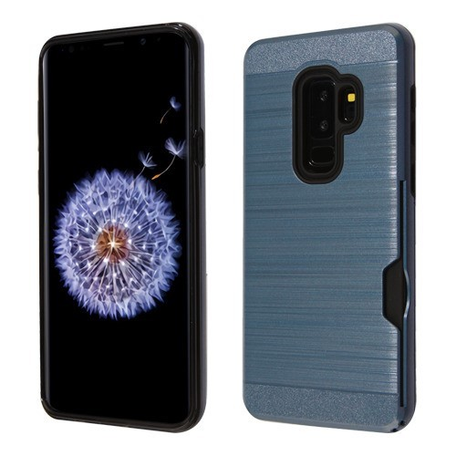 Ink Blue/Black Brushed Hybrid Protector Cover(with Card Wallet) for Galaxy S9 Plus