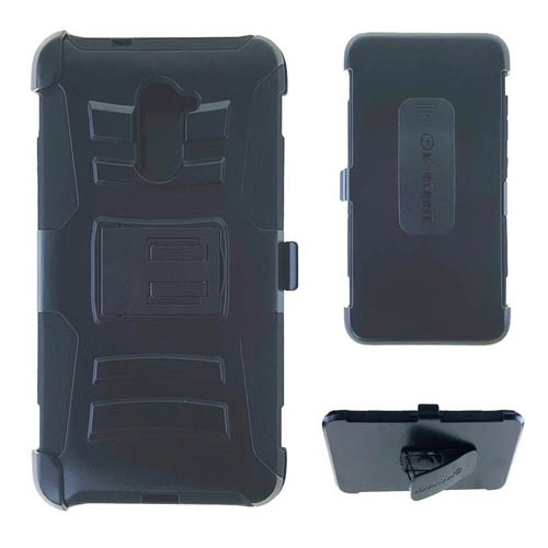 Holster Combo Protector Case for ZTE Kirk (Black Skin with Black Snap)