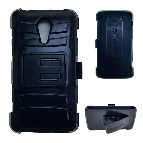 Holster Combo Protector Case for ZTE N817 (Black Skin with Black Snap)