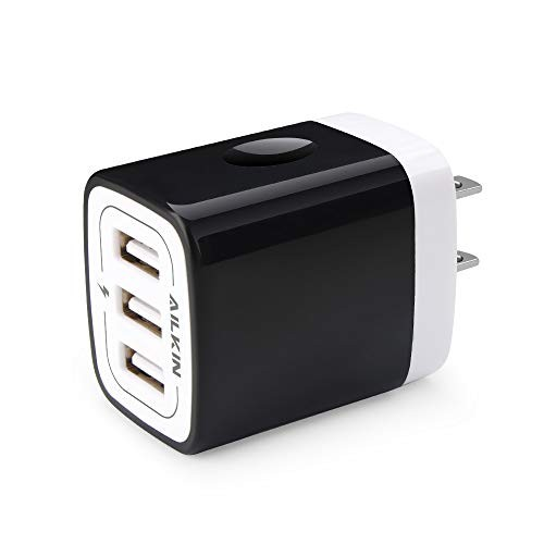 Wall Charger Plug, Ailkin USB Plug Wall, 3MultiPort Home Charger Station Cube Box Charger Outlet Base Brick Block Replacement for iPhone, iPad, and iWatch Charger Plug (Black)