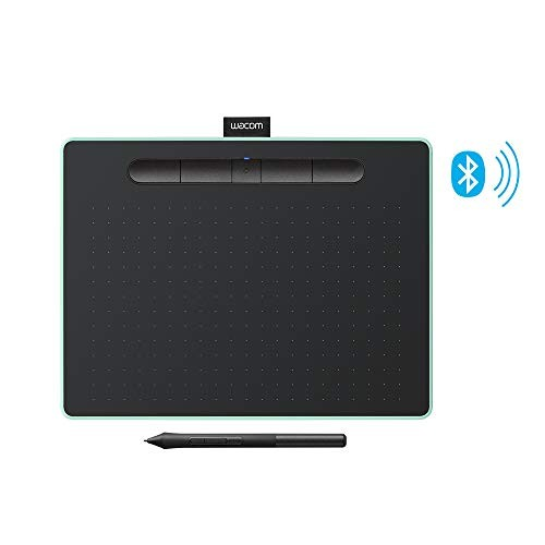 "Wacom Intuos Wireless Graphic Tablet with 3 Bonus Software Included, 10.4"" X 7.8"", Black with Pistachio Accent (CTL6100WLE0)"