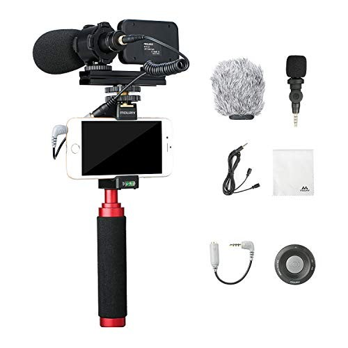Mouriv Smartphone Video Kit with Grip Rig, Video Microphones, LED Light & Wireless Remote for YouTube Vlogging Facebook Livestream Compatible with iPhone 11, 8, X, Android Smartphone & More