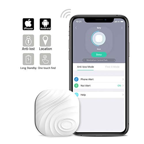 Nutale Nut3 Key Finder Locator (Pack of 1) - Smart Bluetooth Item Tracker & Finder Device for Wallet, Phone, Pets, Dogs, Cats - Anti-Lost Bidirectional Alarm Reminder - Replaceable Battery - White