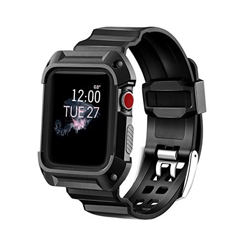 Compatible Apple Watch Band with Case 38mm, MAIRUI Rugged Protective G Shock Replacement Wristband for Apple Watch iWatch Series 3/2/1, Nike+/Sport/Edition (Black)