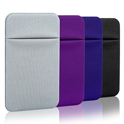 Costyle 4 Pack Cloth Ultra Slim Stick on Wallet- Gray Purple Royal Blue Black