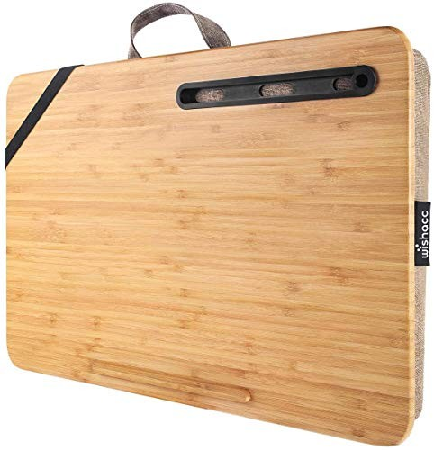 wishacc Home Office Lap Desk Portable Bamboo Laptop Lap Desk Accessories (Fits up to 17.3? Laptop)