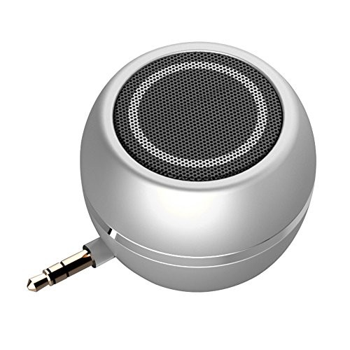 Rumfo Mini Phone Speaker Portable Wireless Plug in Speaker with 3.5mm Aux Audio Jack Rechargeable Plug and Play Clear Bass Speaker Universal for Cell Phone iPad MP3 MP9 Tablet Computer (Silver)