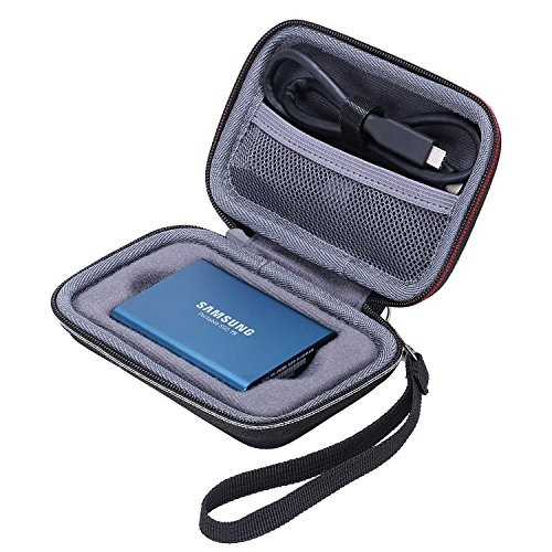 XANAD Case for Samsung T3 T5 Portable 250GB 500GB 1TB 2TB SSD USB 3.1 External Solid State Drives Storage Travel Carrying Bag (Inside Grey)