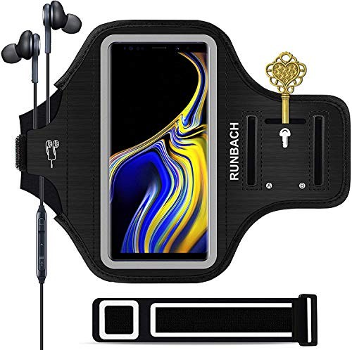 Galaxy Note 9/Note 10+/Note 20 Armband,RUNBACH Sweatproof Running Exercise Cellphone Sportband Bag with Fingerprint Touch/Key Holder and Card Slot for Samsung Galaxy Note 9/Note 10+/Note 20 (Black)