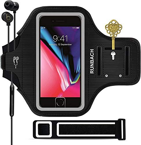 RUNBACH iPhone 8 Plus/iPhone 7 Plus Armband, Sweatproof Running Exercise Gym Cellphone Sportband Bag with Fingerprint Touch/Key Holder and Card Slot for iPhone 7/8 Plus (Black)